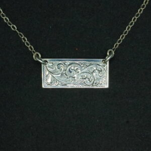Shop Wyoming Sterling silver engraved bar necklace