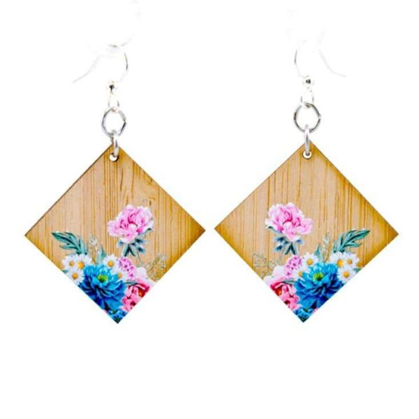Shop Wyoming Bamboo wood floral earrings | Handmade in the USA