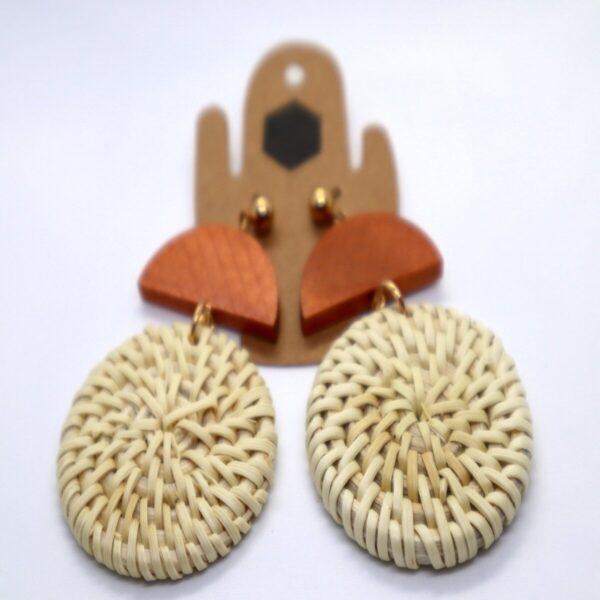 Shop Wyoming Weaved Circular Golden Accent Wooden Earrings