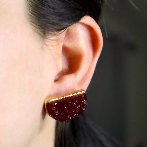 Shop Wyoming Semi- Circle Red Gem Studded Earrings