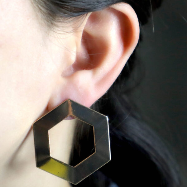 Shop Wyoming Golden Hexagon Hollowed Large Studded Earrings