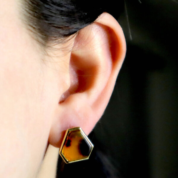 Shop Wyoming Leopard Marbled Triangular Shaped Studded Earrings