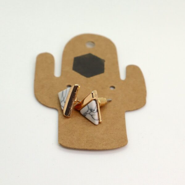 Shop Wyoming Triangular Golden Marbled Studded Earrings