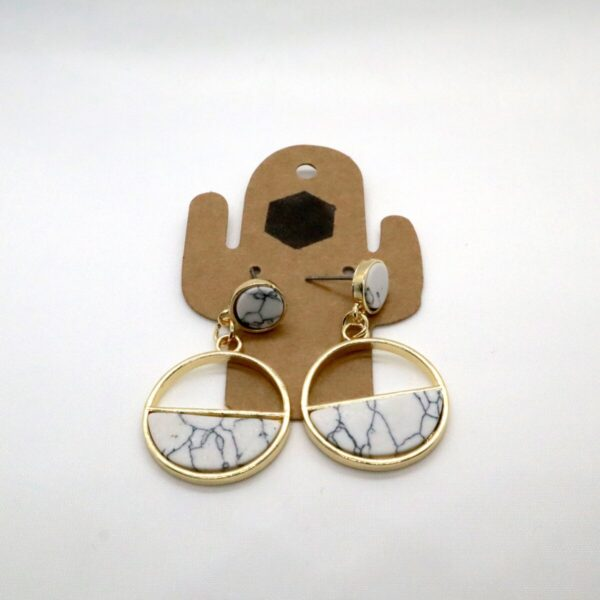 Shop Wyoming Golden Circle w/ Semi Marble Fill Dangled Earrings
