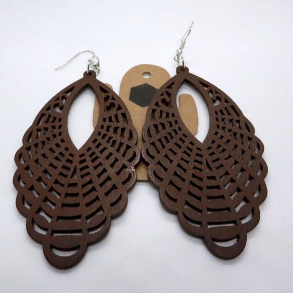 Shop Wyoming Long Wooden Hollowed Dangled Earrings
