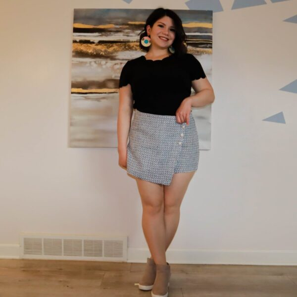 Shop Wyoming Black and White Skort with Pearls