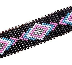 Shop Wyoming Blue and Pink Southwestern Tribal Geometric Diamonds Large Handmade Beaded Barrette with Authentic French Clip