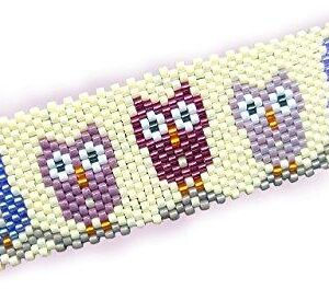 Shop Wyoming Adorable Whimsical Purple Owls Handmade Peyote Beaded Large Barrette with Authentic French Clip
