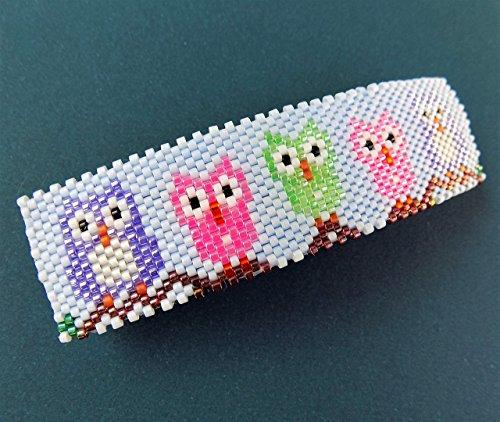 Shop Wyoming Cute Whimsical Owl Peyote Large Beaded Barrette in Purple Green and Pink on Blue