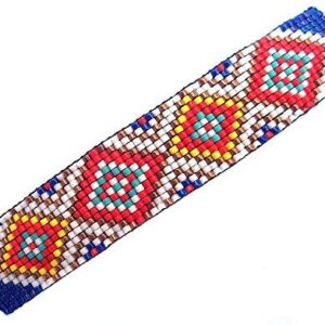 Shop Wyoming Abstract Geometric Diamonds Large Handmade Beaded Barrette in Blue, Turquoise and Red with French Clip