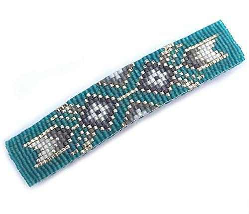 Shop Wyoming Grey, Silver and Teal Tribal Arrows Geometric Loom Beaded Large Barrette Handmade