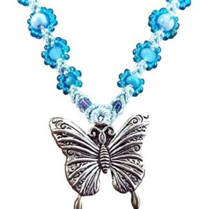 Shop Wyoming Aqua Bright Turquoise Butterfly Handcrafted Micro-Macrame Necklace