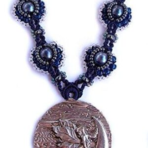 Shop Wyoming Fairy Moon Beaded Micro Macrame Fantasy Cosplay Necklace Navy Blue Pearls Handmade