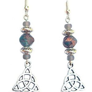 Shop Wyoming Beaded Celtic Knot Earrings Triquetra Gold Fleck Denim Blue Grey and Silver Handcrafted Dangles