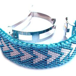 Shop Wyoming Geometric Triangles Handmade Beaded Large Ponytail Clip Cuff French Barrette Aqua and White