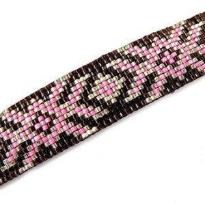 Shop Wyoming Abstract Floral Geometric Handmade Loom Beaded Large Barrette in Pink Silver and Brown with Authentic French Clip