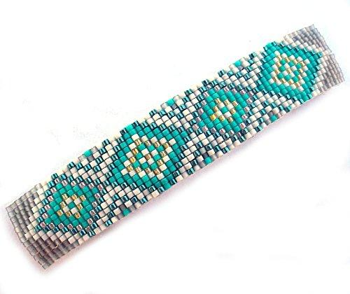 Shop Wyoming Abstract Geometric Diamonds Turquoise Aqua and Grey Handmade Beaded Large Barrette with Authentic French Clip