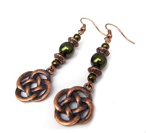 Shop Wyoming Beaded Celtic Knot Forest Green and Copper Handcrafted Dangle Earrings