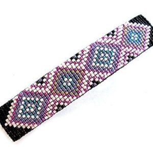 Shop Wyoming Abstract Geometric Diamonds Turquoise and Metallic Purple Large Handmade Beaded Barrette with Authentic French Clip