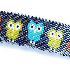 Shop Wyoming Bright Gamer Owls Cute Handcrafted Beaded Large Barrette in Yellow, Orange and Turquoise with Authentic French Clip