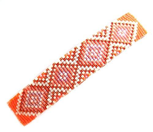 Shop Wyoming Abstract Geometric Diamonds Orange Dreamsicle Handmade Beaded Large Barrette with Authentic French Clip