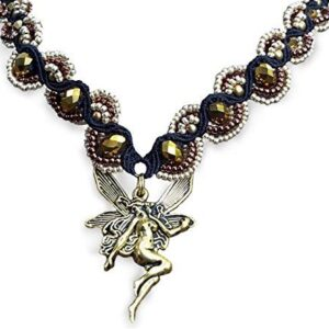 Shop Wyoming Beaded Fairy Handcrafted Micro-Macrame Necklace in Silver and Bronze