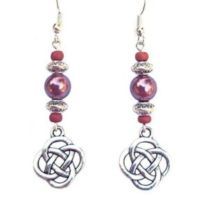 Shop Wyoming Beaded Celtic Knot Rose Mauve and Silver Handcrafted Dangle Earrings