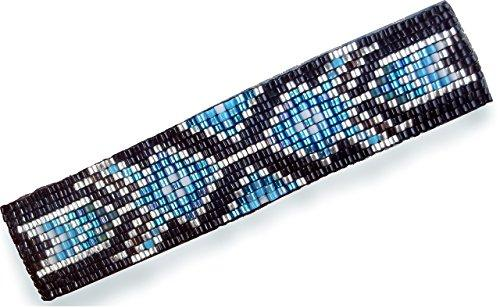 Shop Wyoming Abstract Tribal Geometric Arrows Large Beaded Barrette in Blue and Silver with Authentic French Clip