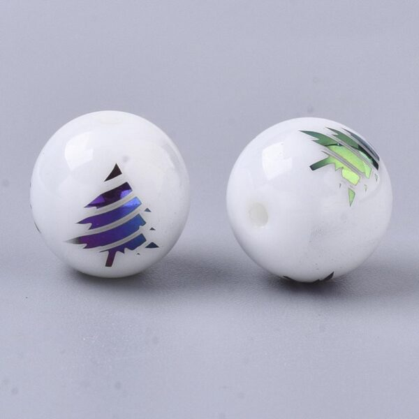Shop Wyoming 10mm Round Multi-Color Electroplate Pine Tree Glass Beads Evergreen Christmas Tree, Lot of 15