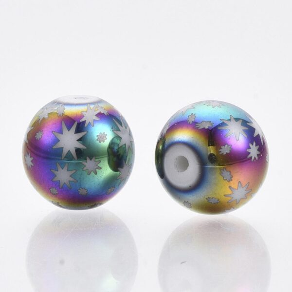 Shop Wyoming 10mm Round Multi-Color Electroplate Star Glass Beads, Lot of 15