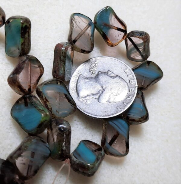 Shop Wyoming Diagonal Hole Rectangle (14x10mm) Turquoise Amethyst Mix Opaque Transparent with Picasso 10ct