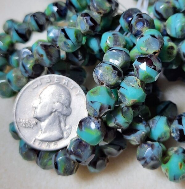 Shop Wyoming Central Cut (9mm) Turquoise Opaque and Purple Transparent Mix with Picasso Finish 10ct