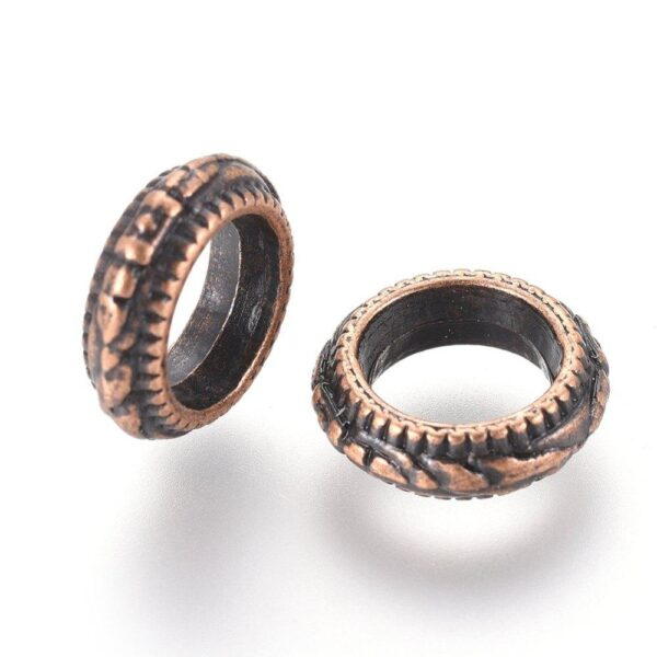 Shop Wyoming 11x4mm Floral Textured Copper Rondelle Spacer Beads Rings 15ct