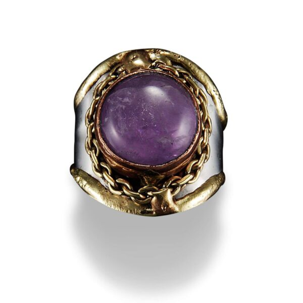 Shop Wyoming Handmade amethyst, copper and brass ring