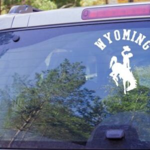 Shop Wyoming Curved Wyoming Bucking Cowboy Decal, Wyoming Cowboys Decal