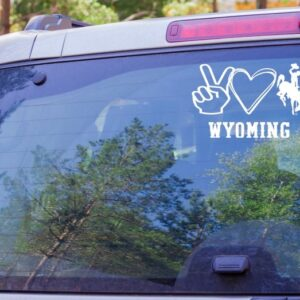 Shop Wyoming Peace Love Wyoming Decal, Wyoming Bucking Cowboy Decal, Wyoming Cowboys Decal