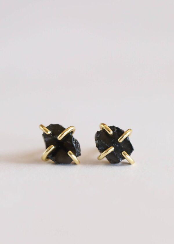 Shop Wyoming Beautiful Obsidian Earrings in 18K gold-plated prongs