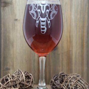 Shop Wyoming Elegant Elephant Etched Wine Glass
