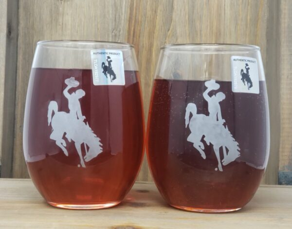 Shop Wyoming University of Wyoming Etched Wine glasses – stemless