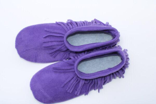 Shop Wyoming Dark Purple Moccasin Slippers/ Non Slip Slipper Socks