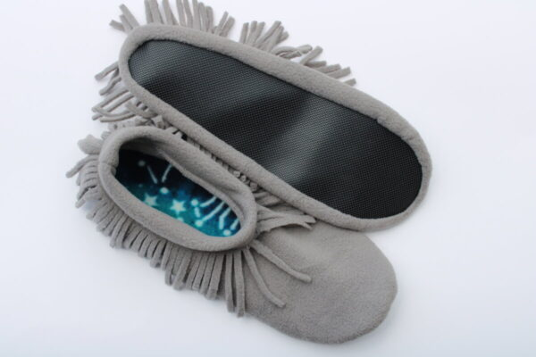 Shop Wyoming Gray Moccasin Slippers/Non Slip Slipper Socks