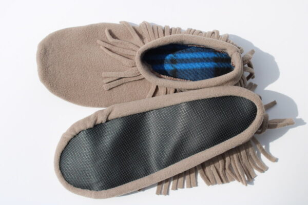 Shop Wyoming Cocoa Meringue Moccasin Slippers/ Non Slip Slipper Socks