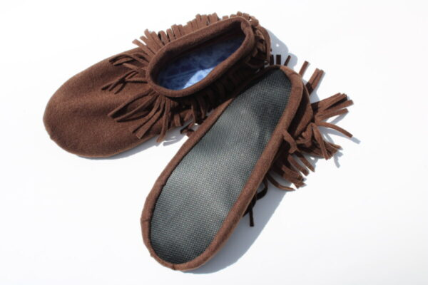 Shop Wyoming Brown Moccasin Slippers/Non Slip Slipper Socks
