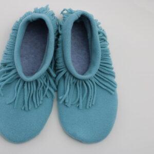Shop Wyoming Aqua Moccasin Slippers/ Non Slip Slipper Socks