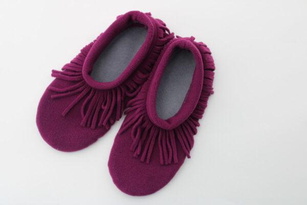 Shop Wyoming Magenta Moccasin Slippers/ Non Slip Slipper Socks
