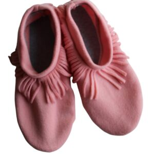 Shop Wyoming Light Coral Moccasin Slippers/Non Slip Slipper Socks