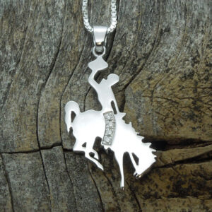 Shop Wyoming Wyoming Bucking Horse Pendants Sterling Silver with Diamonds
