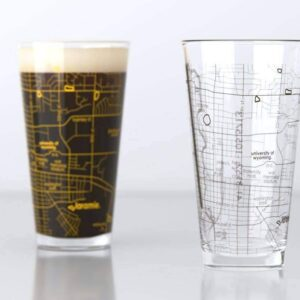 Shop Wyoming University of Wyoming College Town Map Pint Glass