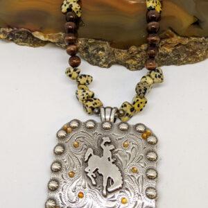 Shop Wyoming Large Dalmatian Bucking Horse Necklace