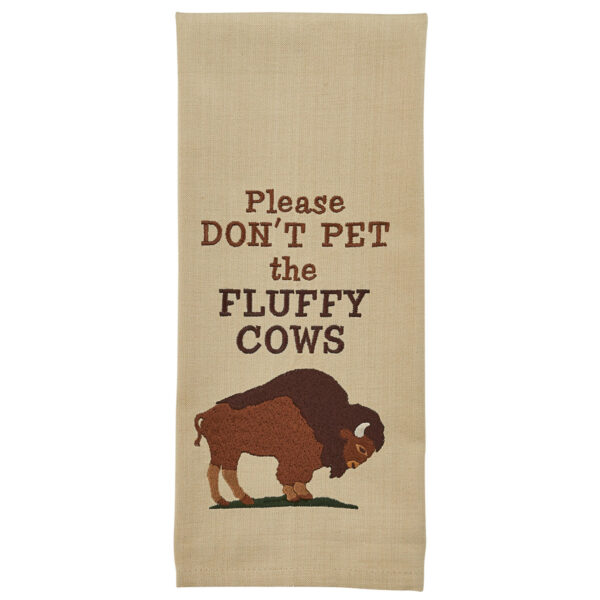 Shop Wyoming Please Don't Pet the Fluffy Cows – Embroidered Dishtowel